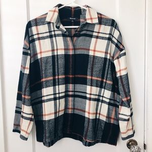 Puff Sleeve Flannel Button Down